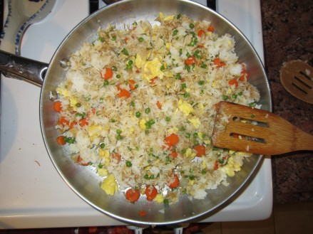 Cooking hibatchi Rice